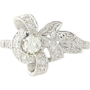 Retro Diamond Ring - 900 Platinum Vintage Round Brilliant .51ctw