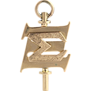 Indiana University Sigma Xi Key Fob - 14k Yellow Gold Vintage Fraternity Pendant