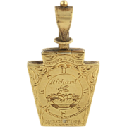 Antique Masonic Fob Keystone c.1856 - 18k Yellow Gold Opens Locket Engraved