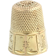 Vintage Gold Sewing Thimble - Polished 14k Solid Yellow Gold Size 6 Thimble