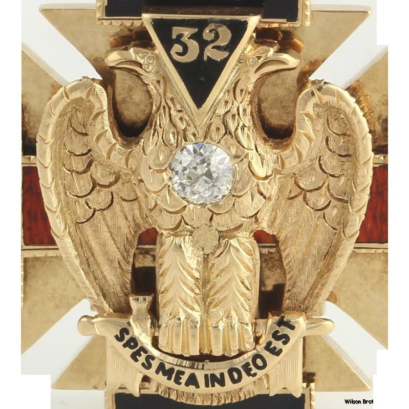 Knights Templar Scottish Rite Masonic Fob - 14k Yellow Gold .22ct Diamond Hefty