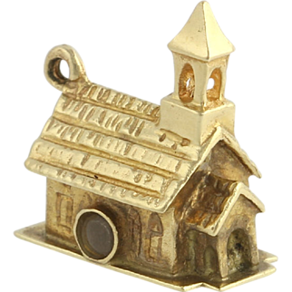 Vintage Stanhope Church Charm - 14k Yellow Gold Polished Building As Is Estate