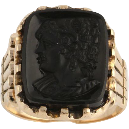 Victorian Cameo Fashion Ring - 9k Yellow Gold Genuine Black Onyx Carved Antique