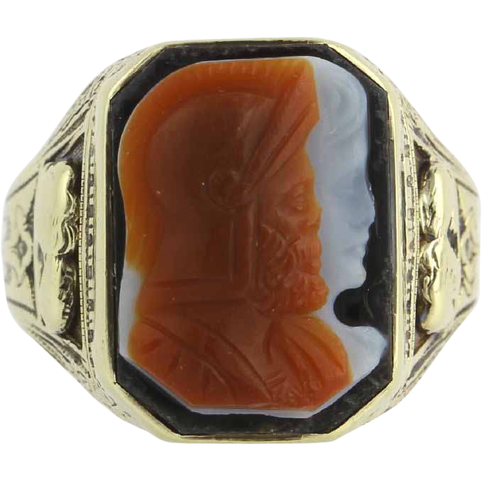 Vintage Carved Cameo Ring 10k Yellow Gold Banded Agate Warrior c.1910s - 1920s