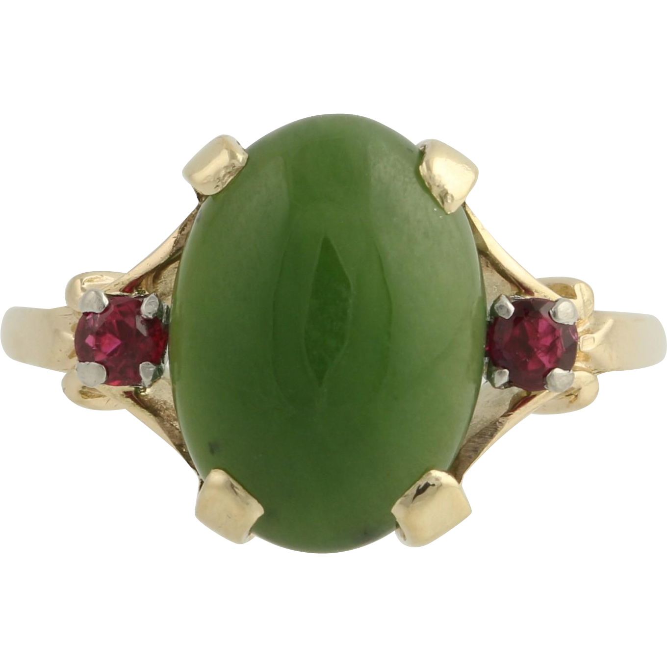 Vintage Tiffany & Co. Jade and Ruby Cocktail Ring - 14k Gold and Palladium 4.80ctw