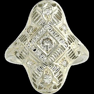 Diamond Cocktail Ring - 14k White Gold Estate High Quality VS1-VS2 Estate .33ctw