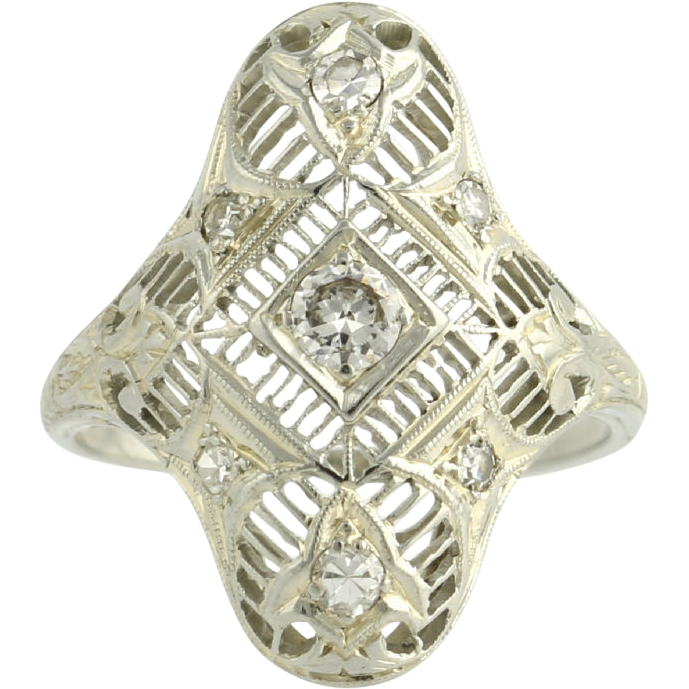 Diamond Cocktail Ring - 14k White Gold Estate High Quality VS1-VS2 Estate .33ctw