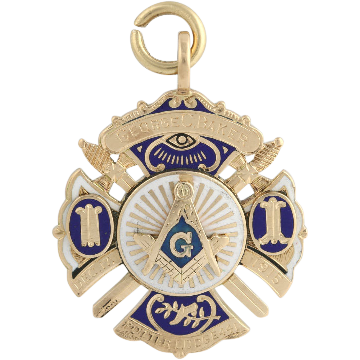 Masonic Fob Pendant - 14k Yellow Gold Vintage Blue Lodge c.1927 Master Mason