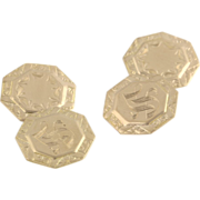Vintage Initial S Cuff Links - 10k Yellow Gold Octagon Estate Mens Dress Letter