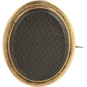 Victorian Mourning Brooch Pin - 14k Yellow Gold Vintage c.1860's-80's Woven Hair