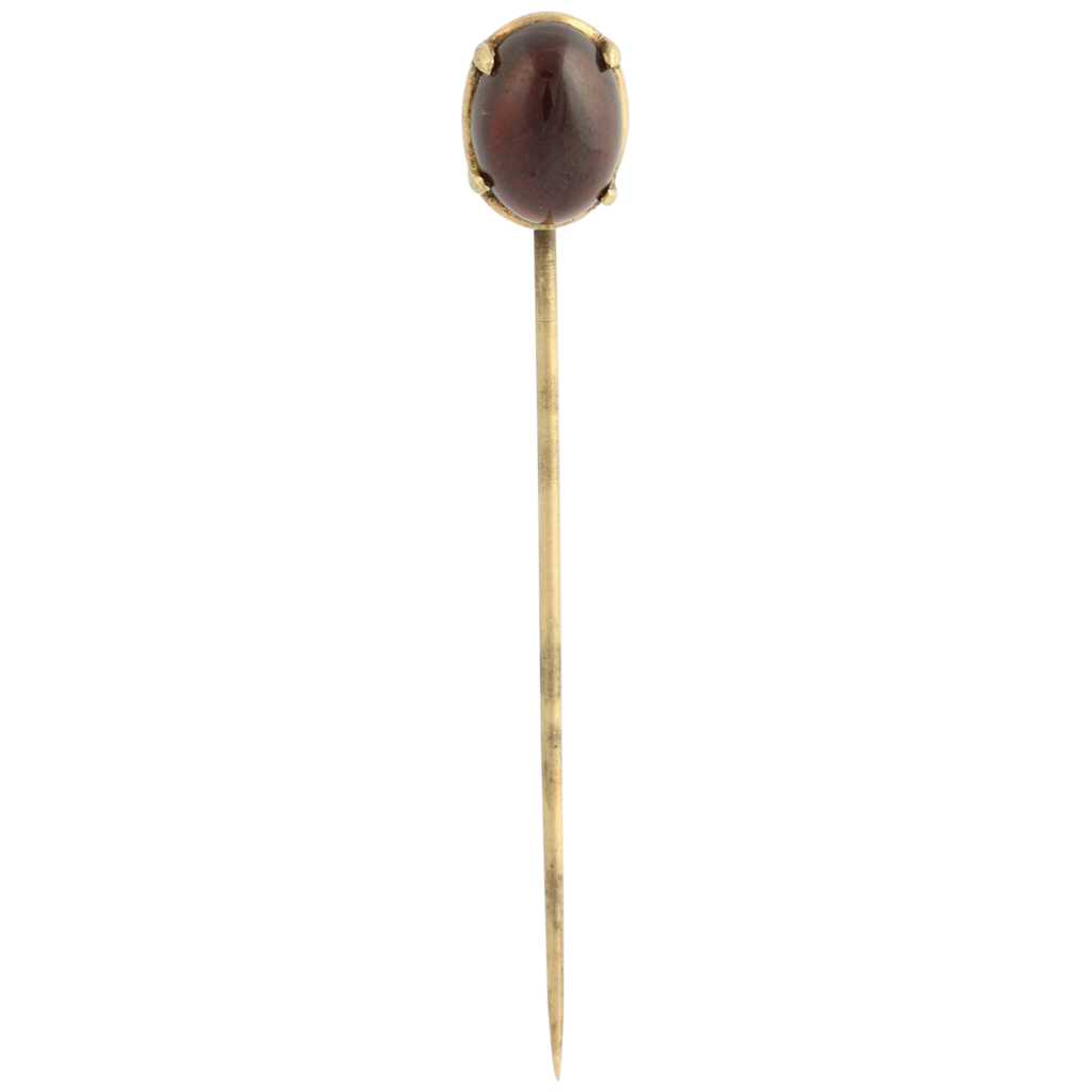 Vintage Garnet Stickpin - 14k Yellow Gold Genuine 3.56ct Cabochon Cut