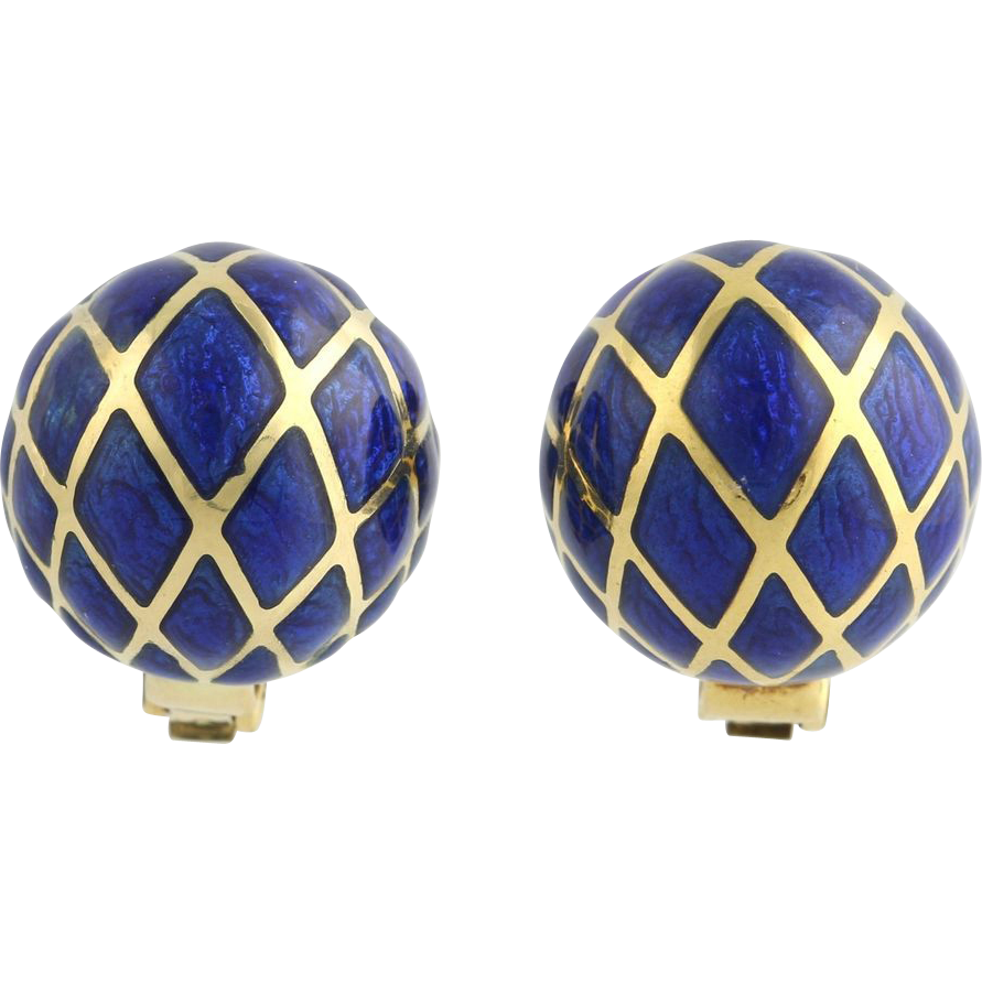 Blue Clip On Earrings - 18k Yellow Gold High Karat Designer Enamel