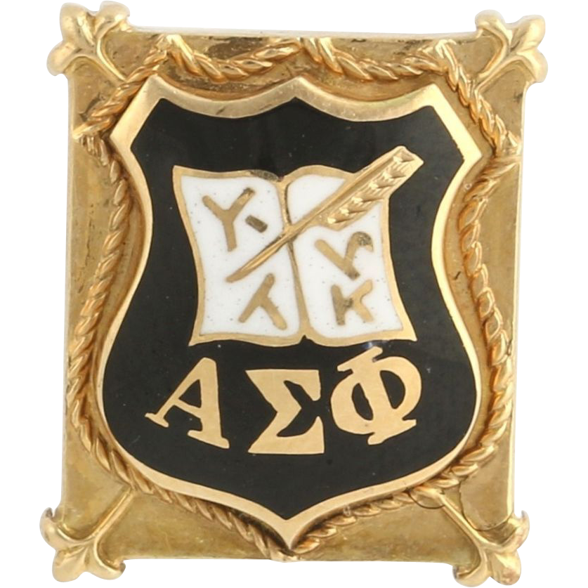 Alpha Sigma Phi Badge - 14k Yellow Gold Fraternity Pin Estate Crest Vintage 1937