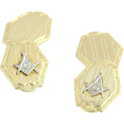 Art Deco Blue Lodge Cufflinks - 10k Yellow & White Gold Square & Compass