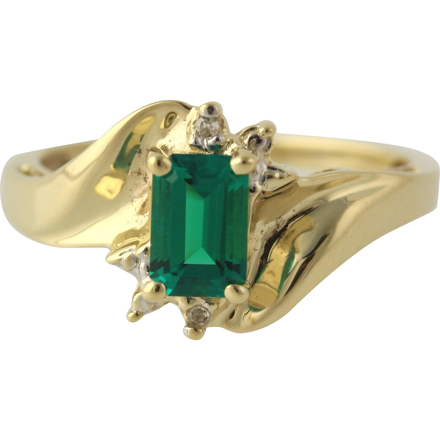 Synthetic Emerald and Diamond Bypass Ring - 10k Yellow & White Gold MayFine .61ctw