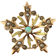 Edwardian Opal and Seed Pearl Brooch - 10k Yellow & Green Gold Women's Estate