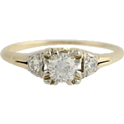 Art Deco Diamond Engagement Ring - 14k &18k Gold European Cut Genuine .40ctw Unique Engagement Ring
