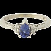 Synthetic Sapphire & Diamond Ring - 14k White Gold September 5 1/2 Fine .52ctw
