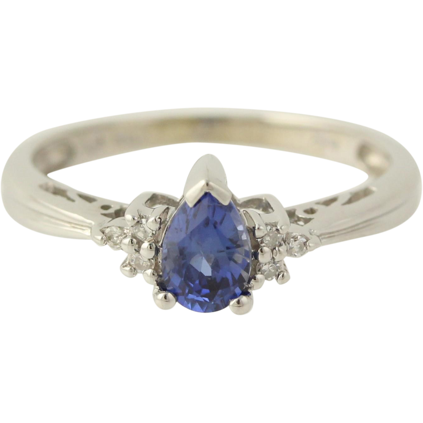 Synthetic Sapphire & Diamond Ring - 14k White Gold September 5 1/2 Fine .52ctw