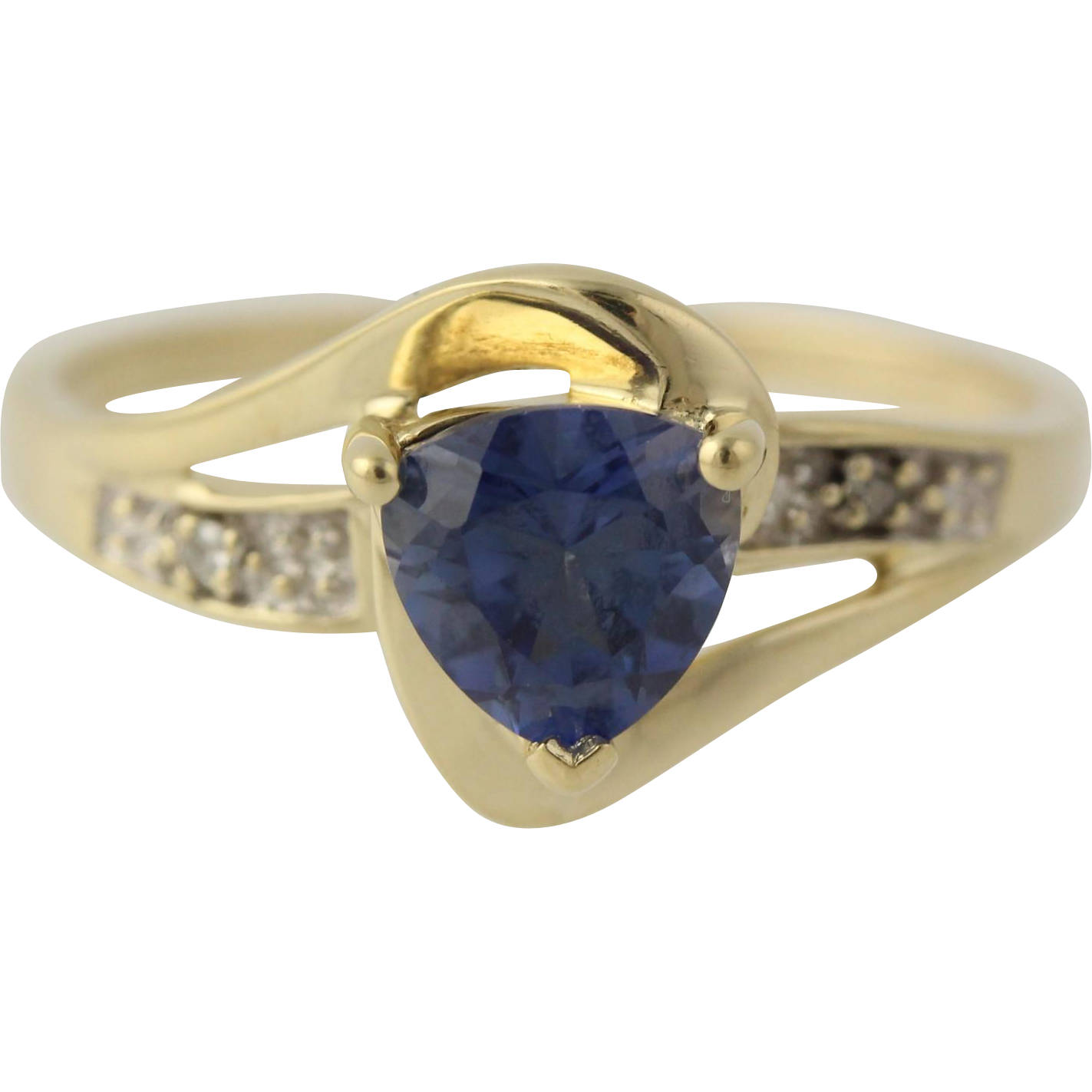 Synthetic Sapphire Bypass Ring - 10k Yellow Gold Band Small Diamond Accents 7