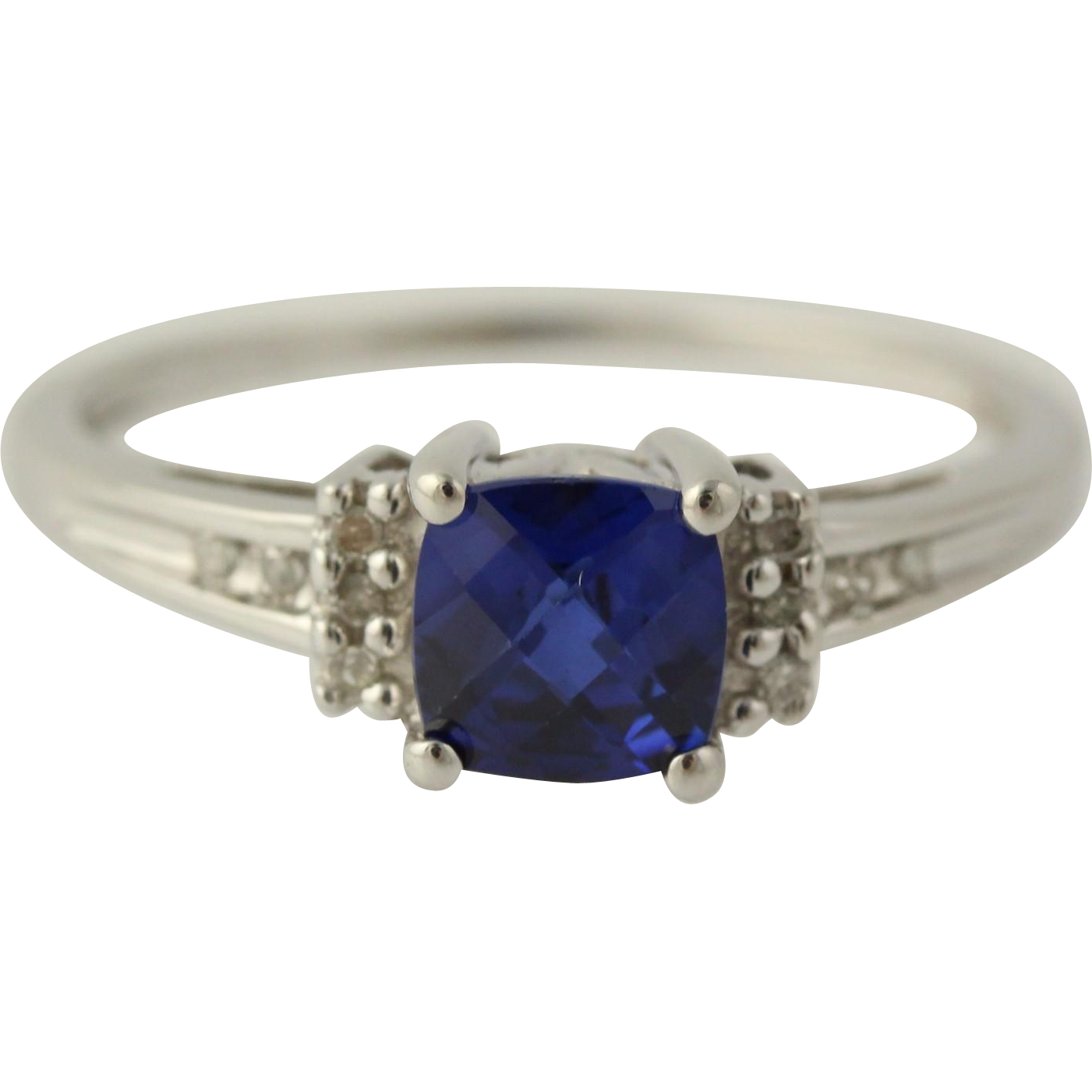 Synthetic Sapphire & Diamond Ring - 14k White Gold 9 1/4 - 9 1/2 Fine 1.05ctw