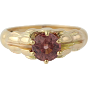Edwardian Era Pink Zircon Ring - 14k Yellow Gold Women's 7 1/4 Genuine 2.00ctw