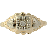 Retro Diamond Accented Cocktail Ring - 14k Yellow & White Gold Genuine .03ctw