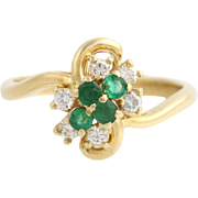 Emeralds & Diamonds Clover Ring - 14k Yellow Gold 4 Leaf Shamrock 0.52ctw