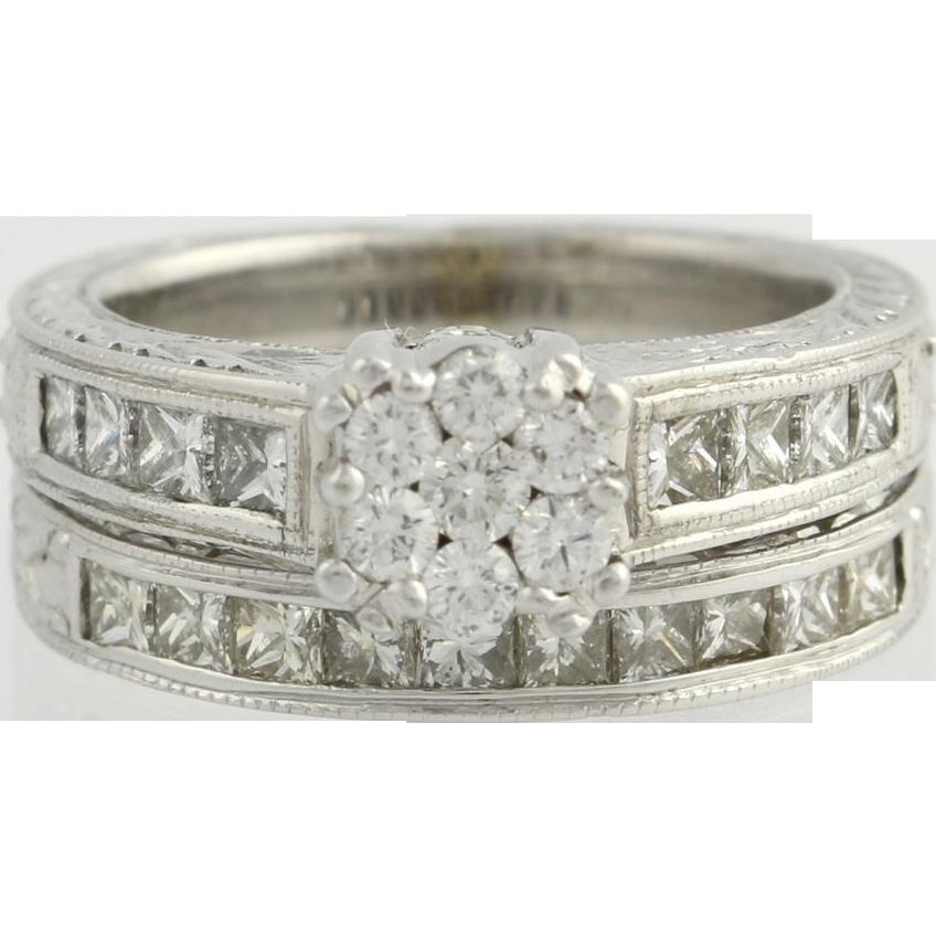 1.36ctw Genuine Diamond Engagement Ring Wedding Band Set - 14k White Gold Wheat