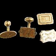 Victorian Cuff Links & Buttons - Antique Mismatched Floral Etched 4 Piece Lot