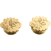 Victorian Cuff Buttons - Antique Floral Engraved Small 2 Piece Set Estate