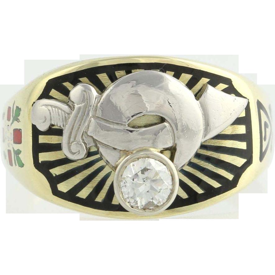 .35ct Genuine SI1 Diamond Shriners Masonic Ring - 14k Gold Scottish Rite 10.25