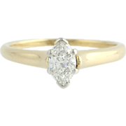 EGL Cert .70ct Marquise Diamond Solitaire Diamond Engagement Ring - 14k Gold
