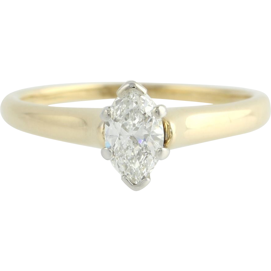 EGL Cert .70ct Marquise Diamond Solitaire Diamond Engagement Ring - 14k Gold