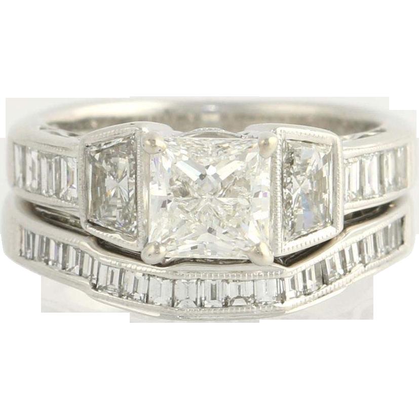 Wedding Set 1.61ctw Princess Diamond Engagement Ring & Band - 18k White Gold EGL