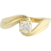 .45ct Genuine Round Diamond Engagement Ring - 14k Yellow Gold Bypass Solitaire