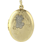 Oval Locket Pendant - Engravable Charm -Vintage Floral Etching Fashion Opens!