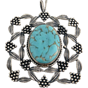 Simulated Turquoise Pendant - Sterling Silver 925 Statement Leaf Cluster Vintage
