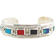 "Enamel Cuff Bracelet 5.75"" - Sterling SIlver Simulated Gemstones Mexico Fashion"