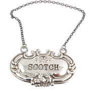 Antique Scotch Drink Tag - Sterling Silver Vintage ID Floral Estate Collectible