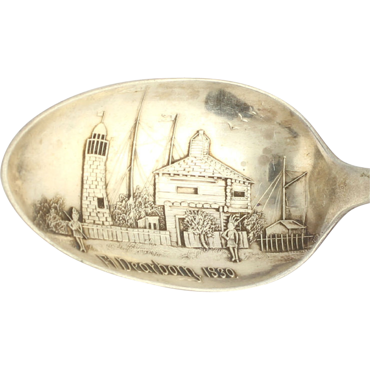 Ft Dearborn Chicago Illinois Souvenir Spoon - Sterling Silver Vintage Collectors
