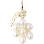 Freshwater Pearl Pendant - 14k Yellow Gold Polished Mountings Lever Clasp Estate
