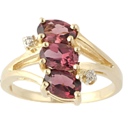 Rhodolite Garnet & Diamond Ring - 14k Yellow & White Gold Genuine 1.66 Bypass