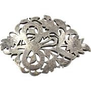 Chunky Vintage Floral Brooch - Sterling Silver Women's Estate Ornate Flower Pin