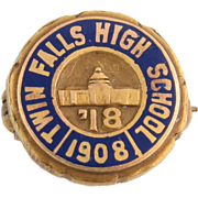 Twin Falls High School Pin 1918 - 14k Yellow Gold Vintage Collectible Idaho