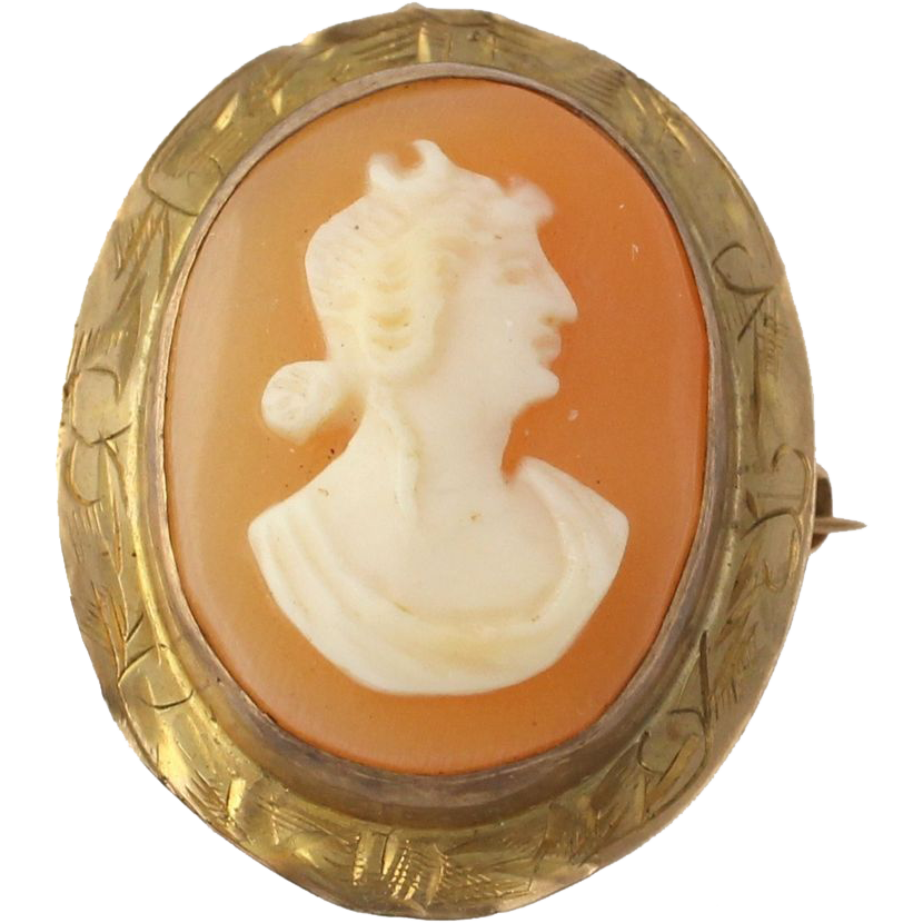 Cameo Brooch - 10k Yellow Gold 1920s-1930s Carved Shell Vintage Estate Pendant