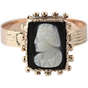 Victorian Carved Banded Agate Cocktail Ring - 10k Yellow Gold Cameo 3.5 - 3.75