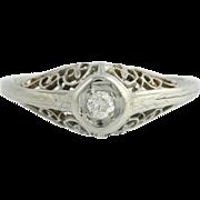 Art Deco Diamond Engagement Ring - 14k White Gold Genuine .10ct