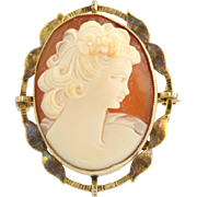 Vintage Carved Shell Cameo Brooch - 10k Yellow Gold Peach Estate Pin