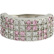 Pink & White Cubic Zirconia Cocktail Band Ring - 10k White Gold Fashion CZ